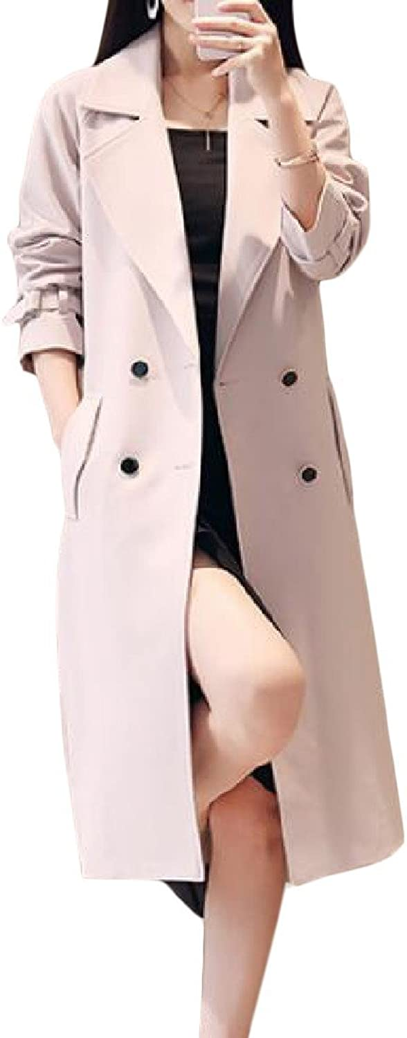 Etecredpow Women's Classic Notched Lapel Double Breasted Stylish Overcoat Trench Coat