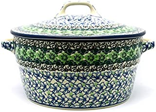 Polish Pottery Baker - Round Covered Casserole - Kiwi