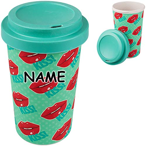 alles-meine.de GmbH Coffee to Go Becher / Trinkbecher / Kaffeebecher - Bambus - Kußmund & Lippen - inkl. Name - BPA frei - mit Deckel - 420 ml - dicht verschließbar - Mehrweg - K..