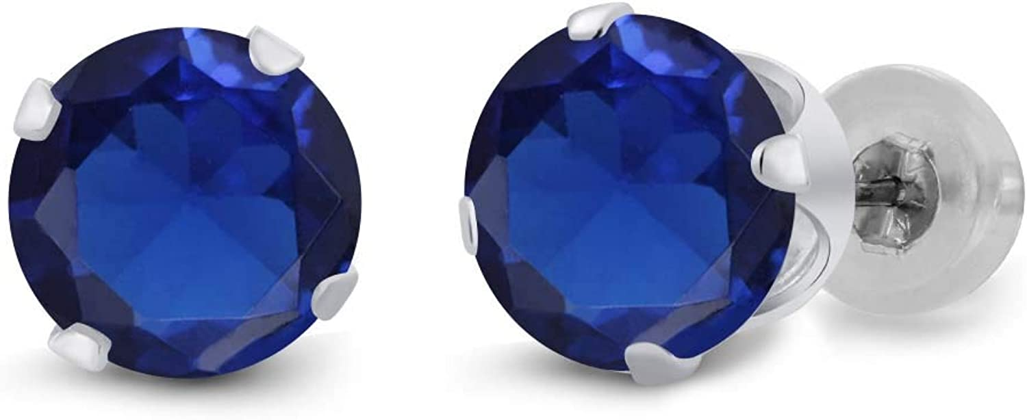 1.50 Ct Round bluee Simulated Sapphire 14K White gold Earrings