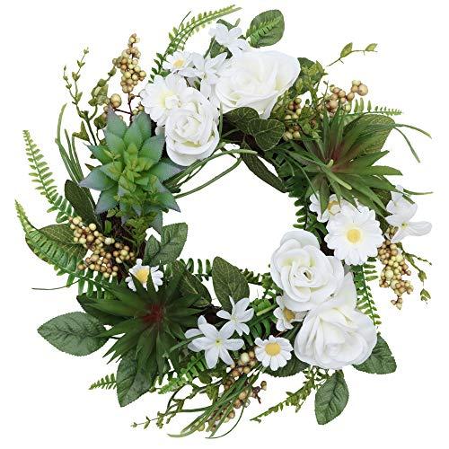 Valery Madelyn Slinger van kunstmatige roze bloemen Ø 45 cm Deurslinger Kroonveer Decoratie voor Home Decoraties, Feesten, Deuren, Bruiloften MULTI-PACKING Moederdag