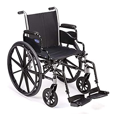 """Invacare - TRSX58FBP / T93HAP Tracer SX5 Wheelchair, with Desk Length Arms and T93HAP Hemi Footrests with Heel Loops, 18"""" Seat Width"""