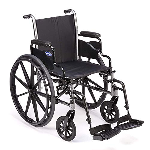 Invacare Tracer SX5 Wheelchair, with Desk Length Arms and T93HCP Hemi Footrests with Heel Loops, 22