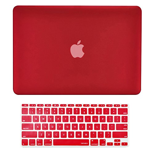 "TOP CASE - 2 in 1 Signature Bundle Rubberized Hard Case and Matching Color Keyboard Cover Compatible MacBook Air 11"" (A1370 and A1465) - Wine Red"