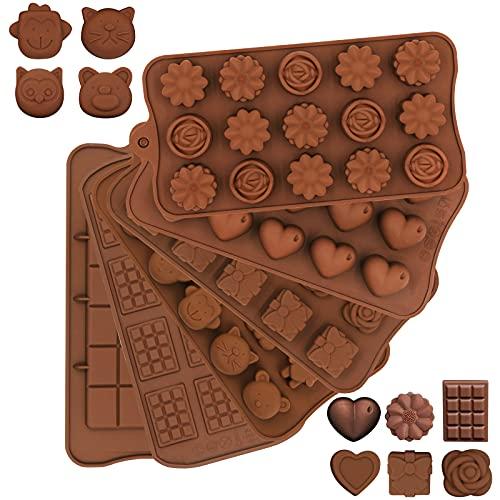 Silikonform, 6 Stück flexible Antihaft-Schokoladen Schokoladenform , Mini-Schokoladen-Snap-Bar-Waffelblumenherz Sweet Mould Wax Candy Jelly Soap Silikonform für die Kuchendekoration