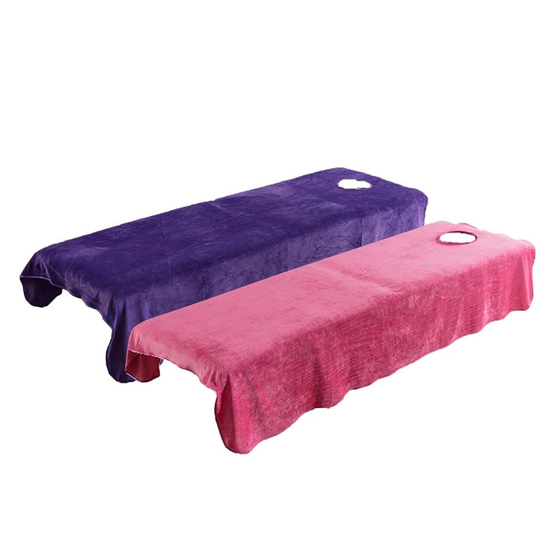 縮れた生物学争う2点セット マッサージベッドカバー 有孔 スパ 美容ベッドカバー クリスタルベルベット素材 120x190cm