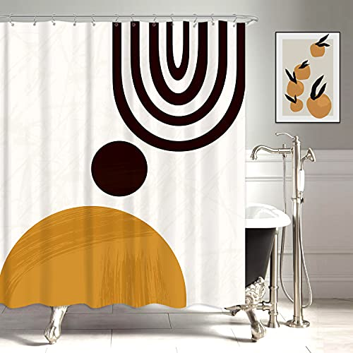 KOMLLEX Modern Abstract Mid Century Shower Curtain Set for Bathroom 60Wx72H Inch Contemporary Art Minimalist Geometric Aesthetic Sun Curve Cute Terracotta Bath Decor Accessories for Men 12 Pack Hooks