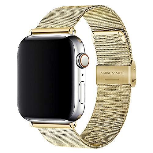 Hspcam Correa de malla para Apple Watch de 44 mm, 40 mm, iWatch de 38 mm, 42 mm, metal de acero inoxidable, para Apple Watch Series 6, SE, 5, 4, 3 (38 mm, 40 mm), color dorado