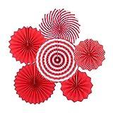 Decoraciones de Abanico Rojo, 6 Piezas Decoración de Abanicos de Papel Colgantes para Cumpleaños, Bodas, Fiestas, Eventos Escolares