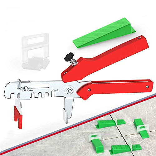 """YEFU Tile Leveling System 1/16"""" Kit Include 300 pcs Tile Spacers Clips and 120 pcs Reusable Wedges and 1 pc Floor Tiles Pliers for Living Room Shower Base Tile Leveler Tools for Installation"""