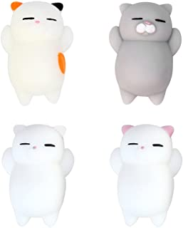 Eutreec Pack of 4 Healing Toys Cute Mini Squishy Squeeze Soft Collection Stress Reliever Gift Decor Colorful White Gray Cat Shape