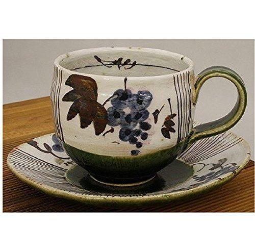 ティーカップ ケーキ皿 可愛い 織部ぶどう コーヒー碗皿 青 美濃焼武山窯 葡萄