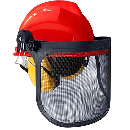 HENGMEI Helm mit Gesichtsschutz Schutzhelmkombination inklusive Gehörschutz Schutzhelm für Waldarbeiter, NR-Wert: 24 dB