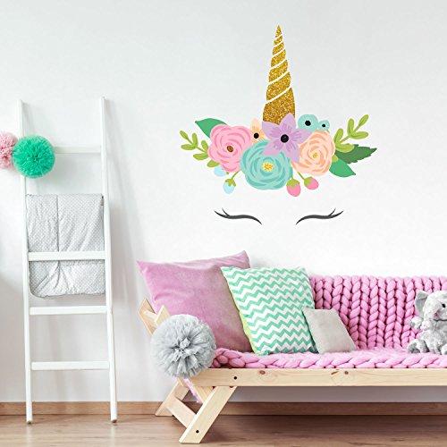 Stickerscape Glitzer Einhorn Horn Wandtattoo | Einhorn Wandsticker | Kinderzimmer Dekor