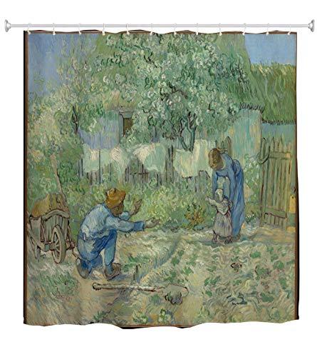 A.Monamour Duschvorhänge Erste Schritte (Nach Hirse) Von Vincent Van Gogh Ölgemälde Kunstdekore Drucken Wasserdichtes Gewebe Duschvorhang Set Mit Haken Für Badezimmer, Nicht Kunststoff Peva 165X180 Cm