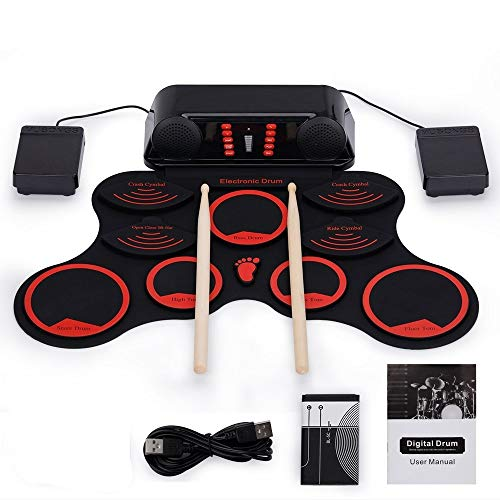 Purchase Portable Electronic Drum Pad 9 Silicon Pads Roll Up Electronic Drum Set USB MIDI Practice D...