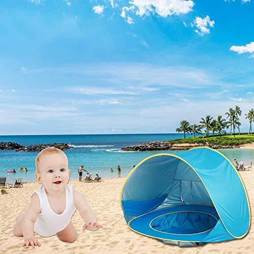 ZHEBEI Toldo impermeable para niños pop-up tienda de campaña de playa de bebé tienda de campaña UV visera niños al aire libre camping sombra
