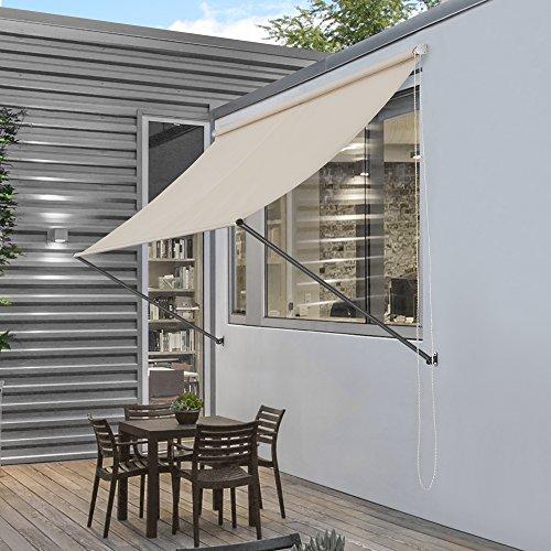pro.tec] Markise 200 x 120 cm in Sandfarben Beige Witterungsbeständig Sonnenschutz Beschattung Terrasse Garten