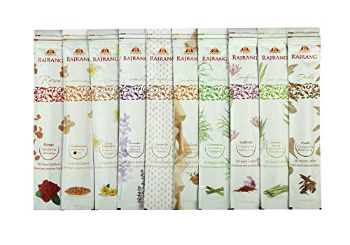 Natürlich parfümierte Räucherstäbchen - Set mit 10 Geschmacksrichtungen - Nag Champa, Oudh, Favorite, Rose, Sandelholz, Lavendel, Weihrauch, Zitronengras, Zitronengras, Safran