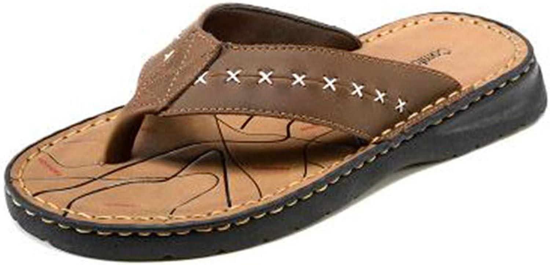 ZHRUI Men Flip Flops Genuine Leather Slippers Fashion Summer Outdoor Beach shoes Man Sandals (color   Brown, Size   11=46 EU)