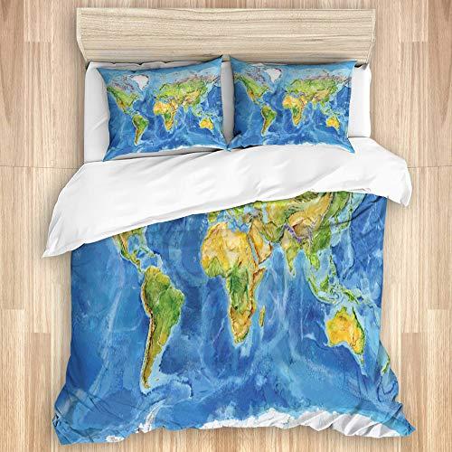 SUHOM Juego de Ropa de Cama con Funda de edredón, Acuarela Mapa geográfico Mundo físico Europa,con 2 Fundas de Almohada,140x200