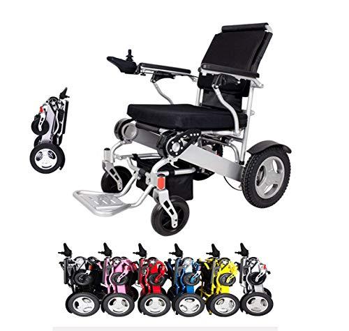 """ZYT Elektrischer Rollstuhl Faltbar Leicht Aluminium 50 Pfund Mit Batterien Schwer Aufgabe Stützt 360 Pfund Flugzeugqualität Rahmen Mit Größerer Stärke,12\""""Hartgummireifen Rad Stabiler,Black"""