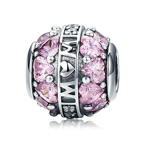 DIY 925 Sterling Jewelry Charm Beads Pure Love All Around Pink Heart Mamá Colgante Madre Hacer Original Pandora Collares Pulseras Y Tobilleras Regalos para Mujeres