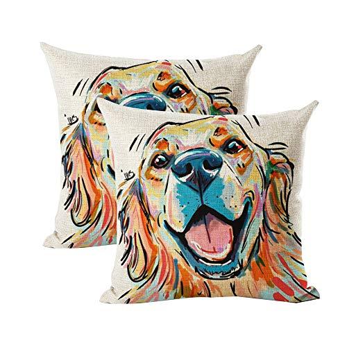 "INSHERE Cute Pet Golden Retriever Dog Pattern Pack of 2 Throw Pillow Covers Cotton Linen Cushion Cover Pillowcases Sofa Home Decor 18""x 18"" (Dog1)"