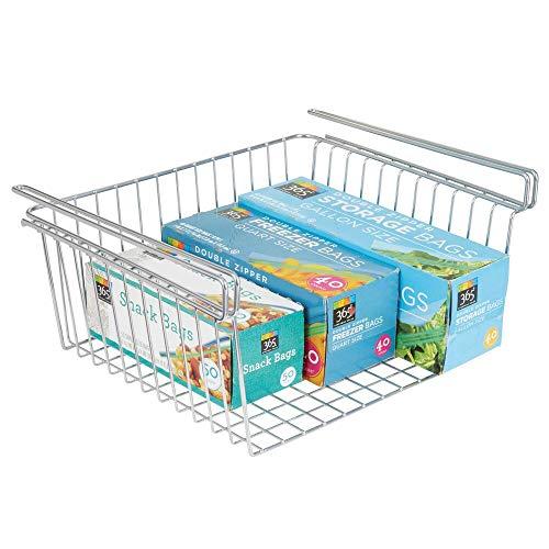 mDesign Household Metal Under Shelf Hanging Storage Organizer Bin Basket for Organizing Kitchen Pantry, Cabinets, Cupboards, Shelves - Multipurpose Vintage Modern Farmhouse Grid Style, Large - Chrome