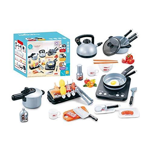 SULULU Juguetes de Cocina, Juegos de Imitación Infantiles de ABS, Utensilios de Cocina de Juguete de Freír Hervir Asar para Niños Niñas (36pcs)