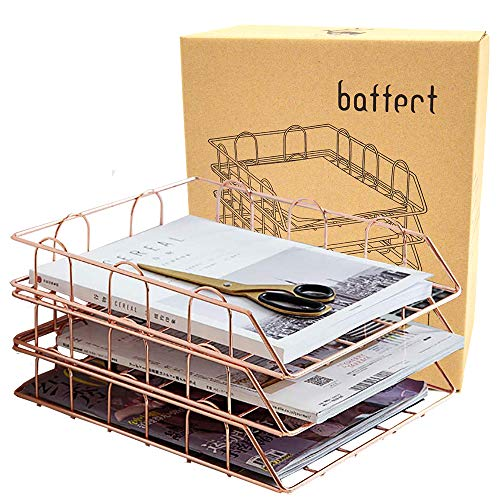 Baffect 3 Tier A4 Ablage Briefablage, stapelbare Briefablage Schreibtisch ordentlich Datei Dokument Brief Papier Organizer Metall A4 Ablage Home Office verwenden (Rose Gold)