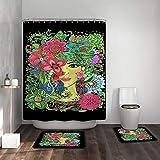 Alician - Juego de 4 cortinas de ducha para baño, alfombra, tapa de inodoro, diseño de chica, 443 #, As shown