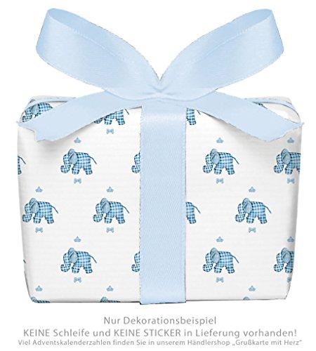 3er-Set Geschenkpapier Bögen für Kinder/Kindergeburtstag/Baby/Geburt/Taufe mit ELEFANT KARO in BLAU für Jung`s • Format : 50 x 70 cm