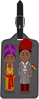 Luggage Tag Ghanaian in National Flag Man and Woman Traditional Costume Suitcase Baggage Label Travel Tag Labels