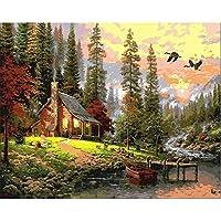 数による絵画 油絵の具デジタル絵画diy絵画手描きのリネンの絵の数字壁の絵風景-50*65cm