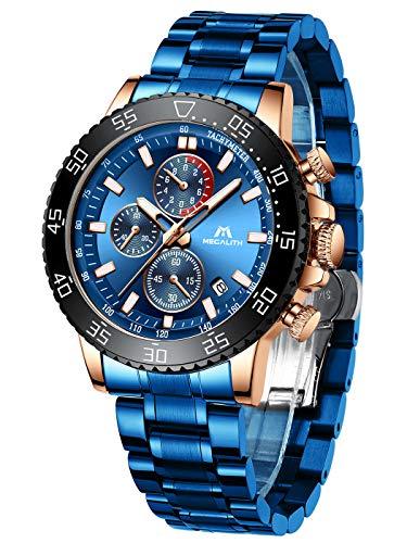 MEGALITH Herrenuhr Blau Edelstahl Chronographen Herren Armbanduhr Großes Wasserdicht Uhren fur Männer Designer Leuchtende Analog Datum