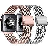 Meliya Cinturino Compatibile per Apple Watch Cinturino 44mm 42mm 40mm 38mm Series 6 5 4 3 2 1 SE, Cinturino in Metallo Maglia Milanese a Acciaio Inossidabile Cinturini (3Argento+Rosa, 38/40mm)