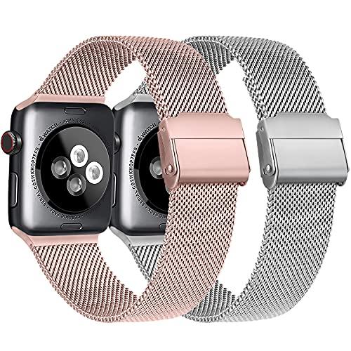 Meliya Cinturino Compatibile per Apple Watch Cinturino 44mm 42mm 40mm 38mm Series 6 5 4 3 2 1 SE, Cinturino in Metallo Maglia Milanese a Acciaio Inossidabile Cinturini (3Argento+Rosa, 42/44mm)