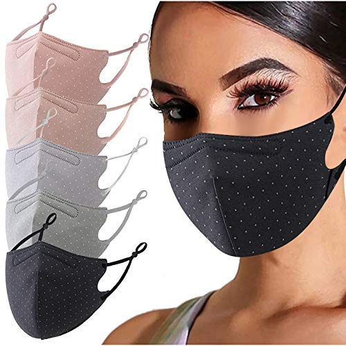 5PC Polka Dot Print Face_Masks Reusable_Washable for Adults, Adjustable Decorative Mouth_Cover for Women Men, for Coronàvịrụs Protectịon Face Bandanas