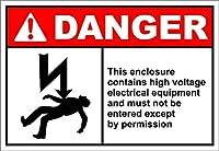 危険このエンクロージャには高電圧電気機器が含まれています。金属スズサイン通知道路交通危険警告耐久性、防水性と防錆性