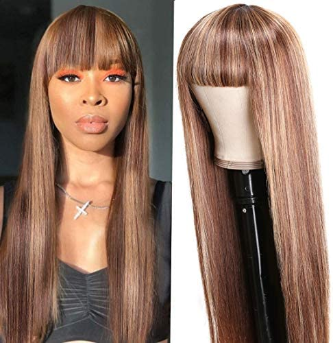 UNice Glueless Ombre Highlight Straight Human Hair Wig With Bangs Mongolian Remy Hair Full Machine product image