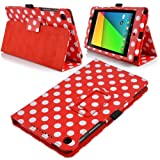 Google Nexus 7 II (2nd Generation) Red Polka Dot Leather Wallet Smart Flip Stand Case Cover with Magnetic Sleep Wake Sensor + Free Screen Protector