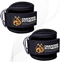 DMoose Fitness Ankle Strap for Cable Machines for Kickbacks, Glute Workouts, Leg Extensions, Curls, and Hip Abductors for Men and Women, Adjustable Neoprene Support (Black, Single)