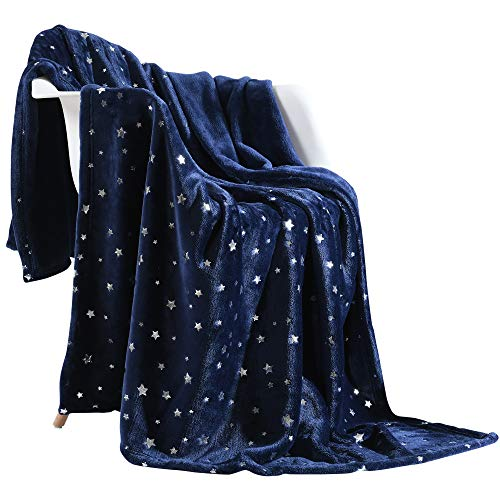 NANPIPER Throw Blanket, Ultra Soft Thick Microplush Bed Blanket, All Season Premium Fluffy Microfiber Fleece Throw for Sofa Couch (Twin Size 65'x80', Navy Blue)