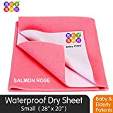 Bey Bee Washable Bed Pads for Incontinence, Baby Crib Mattress Protector, Baby Dry Sheets, Reusable Waterproof Mattress Sheet Protector Incontinence Washable Underpads (Small 28'X 20') Salmon Rose