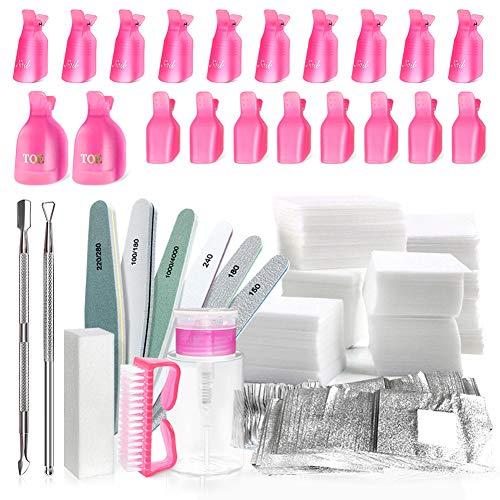 Spove Gel-Nagellackentferner-Werkzeug-Set mit Clips, Nageltüchern, Schneider, Pumpe, Nagelpolierer, Polierfeilen, Pinsel für Aceton-Acrylnägel