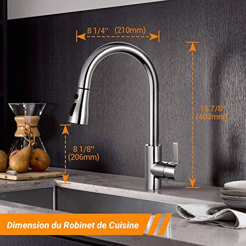 Robinet de Cuisine, TACKLIFE DAKF6F Mitigeur Cuisine Rotatif à 360° avec Douchette Extensible,...