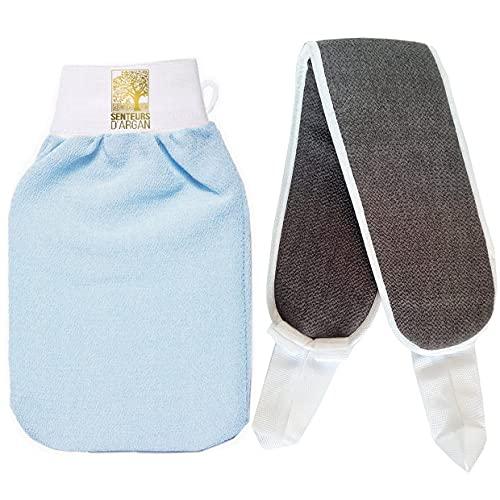 Gant de gommage kessa exfoliant pour le corps, gant de crin kessa du Maroc+ gant exfoliant dorsale OFFERT, élimine les peaux mortes exfoliation naturelle hammam