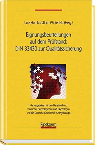 Eignungsbeurteilungen auf dem Prüfstand : DIN 33430 zur Qualitätssicherung: Herausgegeben für den Berufsverband Deutscher Psychologinnen und ... für Psychologie (Sav Psychologie)