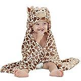 Carolilly Baby Bademantel Kapuzenhandtuch Weiches Plüsch Flanell Fleece mit Kapuze Nachtwäsche(1-6 Jahre) (100 * 100cm(39.37 * 39.37inch), Giraffe)